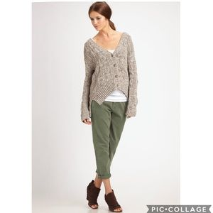 Vince High-Rise Cropped Chino Pant In Olive NWT